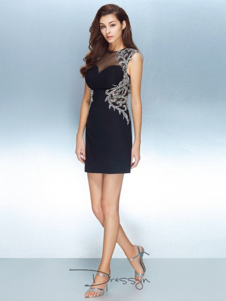 Sheath/Column Short Sleeves Jewel Crystal Net Short dress