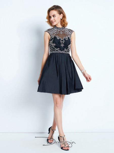 A-Line/Princess Sleeveless High Neck Beading Satin Short dress