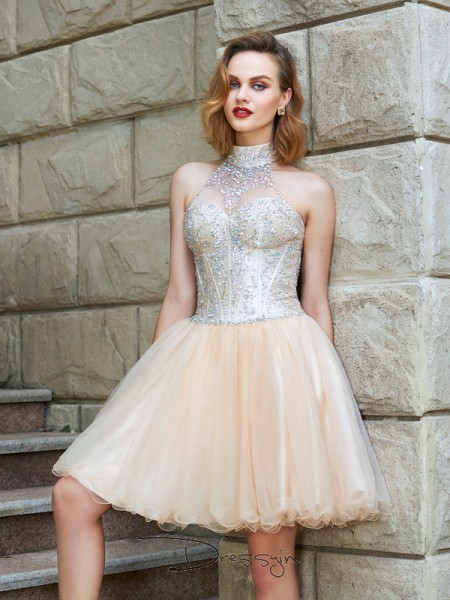 A-Line/Princess Sleeveless Halter Beading Net Short dress
