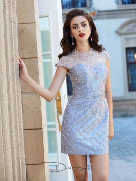Sheath/Column Short Sleeves Jewel Beading Satin Short dress