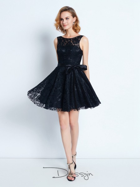 A-Line/Princess Sleeveless Scoop Sash/Ribbon/Belt Lace Short dress