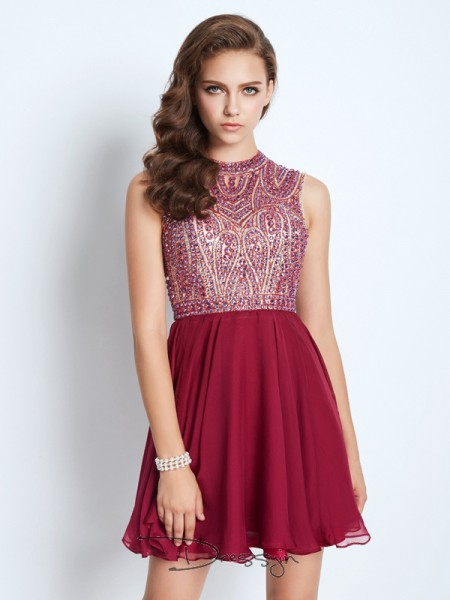A-Line/Princess Sleeveless Jewel Beading Chiffon Short dress