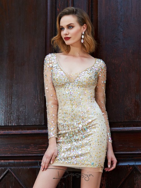 Sheath/Column Long Sleeves Scoop Rhinestone Net Short dress