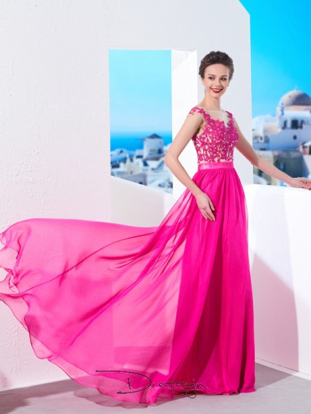A-Line/Princess Sheer Neck Sleeveless Applique Chiffon Long Dress