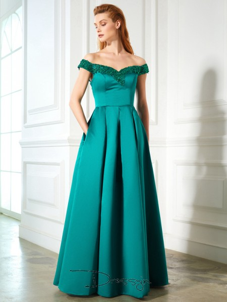 A-Line/Princess Off-the-Shoulder Sleeveless Sequin Satin Long Dress