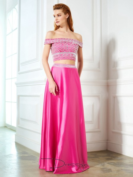 A-Line/Princess Off-the-Shoulder Sleeveless Beading Satin Long Dress