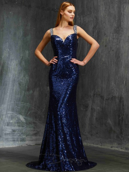 Sheath/Column V-neck Sleeveless Beading Sequins Long Dress