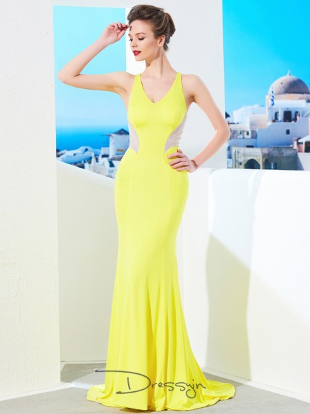 Trumpet/Mermaid V-neck Sleeveless Beading Spandex Long Dress