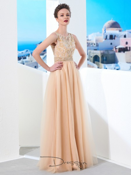 A-Line/Princess Scoop Sleeveless Beading Tulle Long Dress
