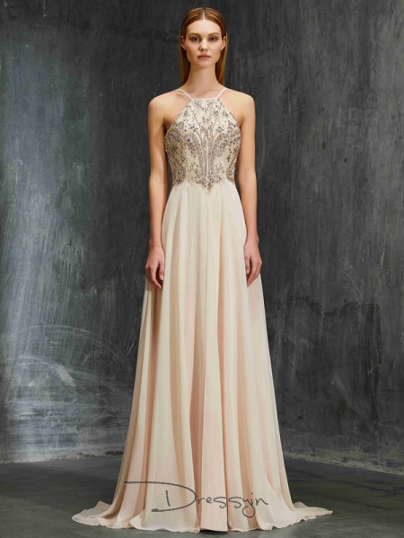 A-Line/Princess Spaghetti Straps Sleeveless Beading Chiffon Long Dress