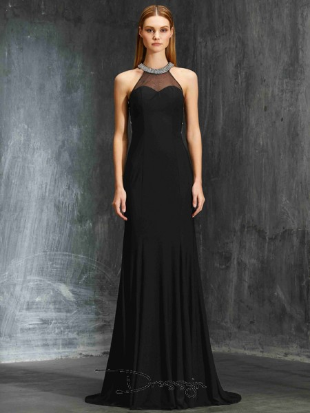 Sheath/Column Jewel Sleeveless Beading Spandex Long Dress