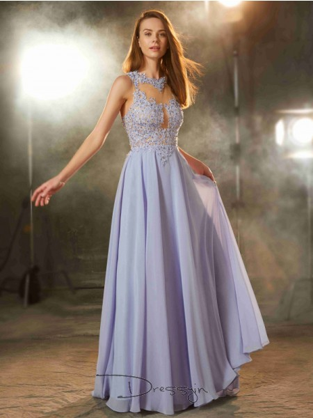 A-Line/Princess Scoop Sleeveless Applique Chiffon Long Dress