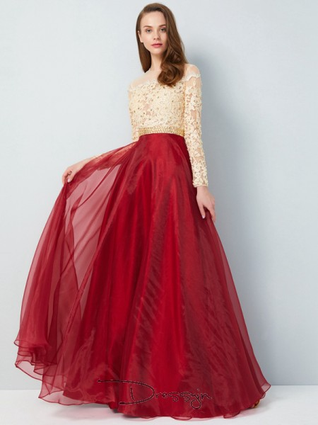 A-Line/Princess Sheer Neck Long Sleeves Applique Organza Long Dress
