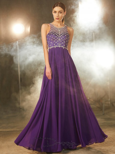 A-Line/Princess Scoop Sleeveless Crystal Chiffon Long Dress