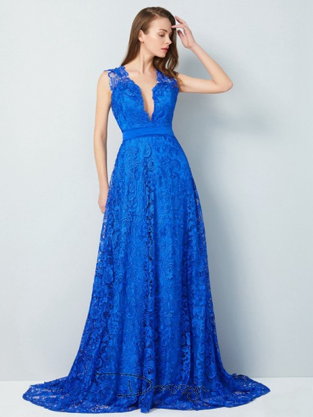 A-Line/Princess V-neck Sleeveless Bowknot Lace Long Dress
