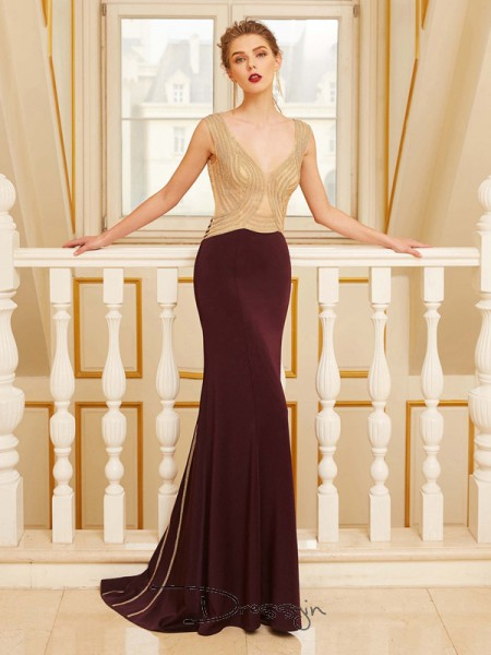 Sheath/Column Straps Sleeveless Beading Jersey Long Dress