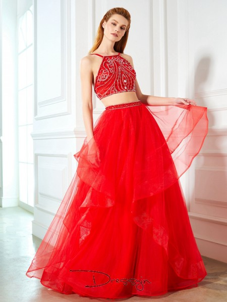 A-Line/Princess Spaghetti Straps Sleeveless Beading Tulle Long Dress