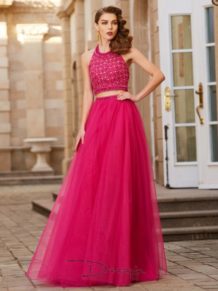 A-Line/Princess Halter Sleeveless Beading Tulle Long Dress