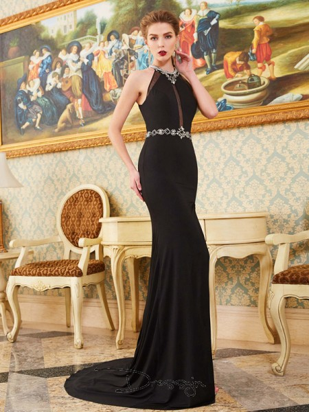 Sheath/Column High Neck Sleeveless Beading Spandex Long Dress
