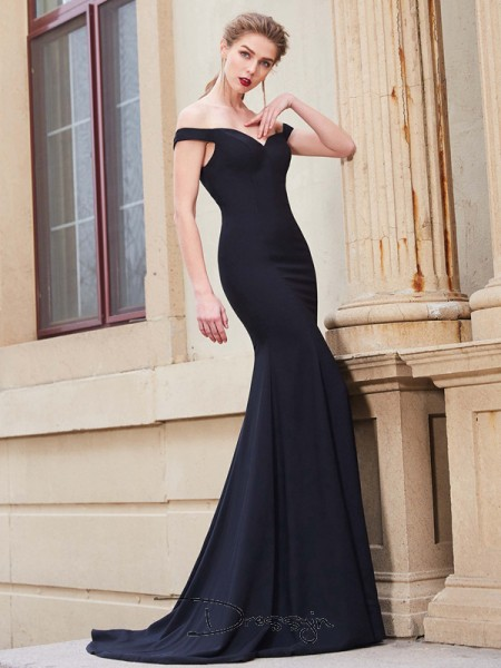 Trumpet/Mermaid Off-the-Shoulder Sleeveless Ruffles Satin Long Dress