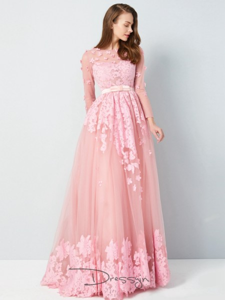 A-Line/Princess Scoop 3/4 Sleeves Applique Tulle Long Dress