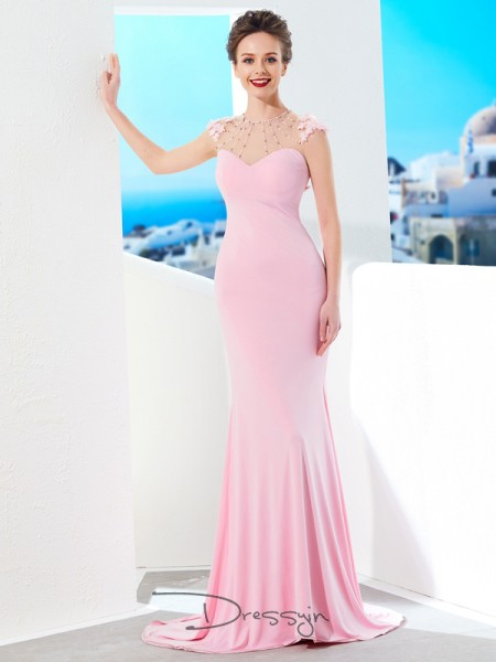 Trumpet/Mermaid Jewel Short Sleeves Beading Spandex Long Dress