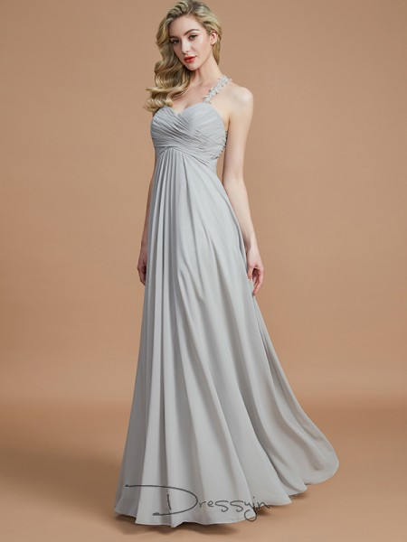 A-Line/Princess Sweetheart Sleeveless Ruched Chiffon Long Bridesmaid Dress