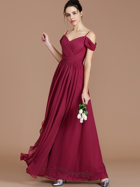 A-Line/Princess Off-the-Shoulder Sleeveless Ruched Chiffon Long Bridesmaid Dress
