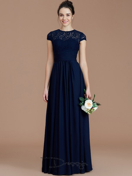 A-Line/Princess Jewel Short Sleeves Chiffon Long Bridesmaid Dress