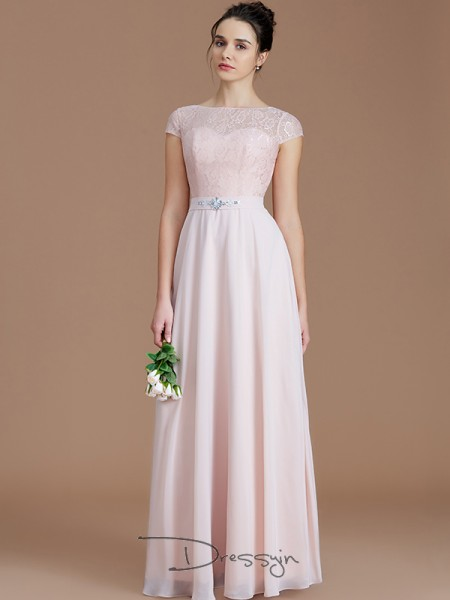 A-Line/Princess Bateau Sleeveless Chiffon Long Bridesmaid Dress