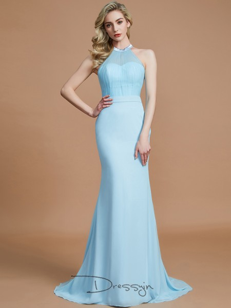 Trumpet/Mermaid Scoop Sleeveless Chiffon Long Bridesmaid Dress