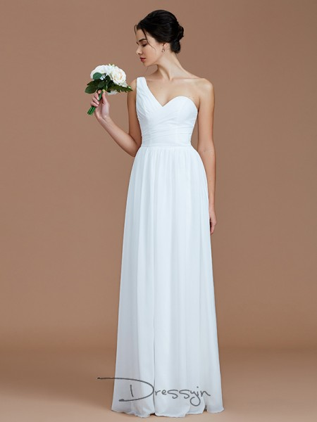 A-Line/Princess One-Shoulder Sleeveless Ruched Chiffon Long Bridesmaid Dress