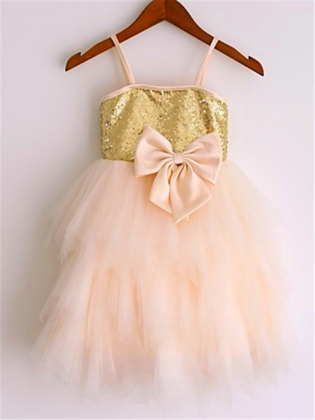 A-Line/Princess Spaghetti Straps Sleeveless Net Sequin Tea-Length Flower Girl Dresses