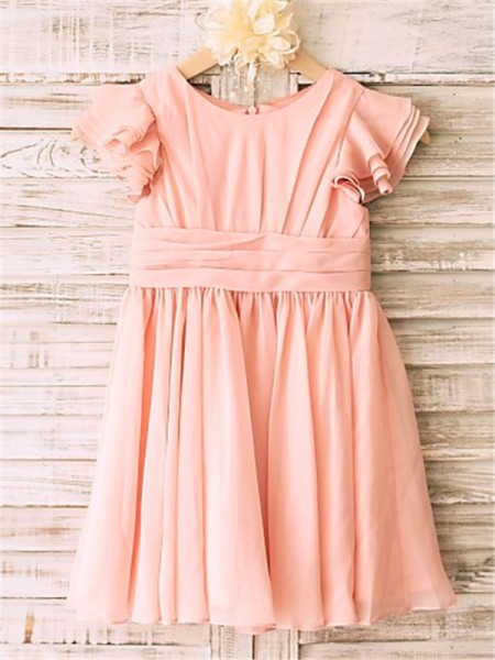 A-Line/Princess Scoop Short Sleeves Chiffon Tea-Length Flower Girl Dresses