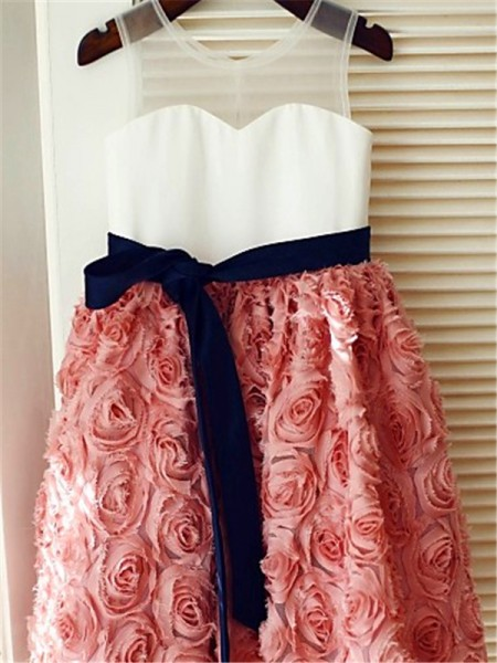 A-Line/Princess Tea-Length Hand-Made Flower Scoop Sleeveless Lace Flower Girl Dress