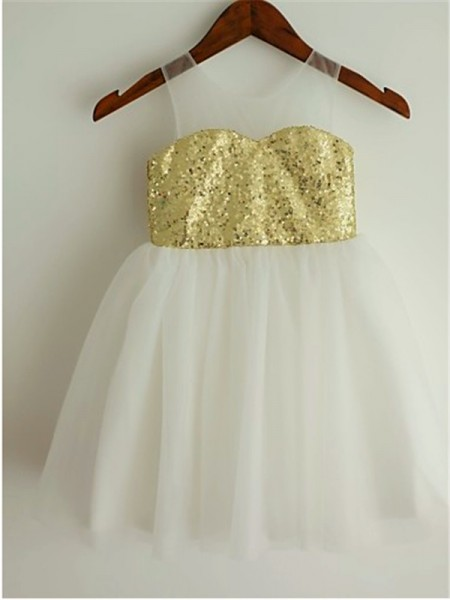 A-line/Princess Scoop Sequin Tea-Length Tulle Flower Girl Dress