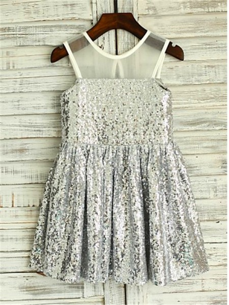 A-Line/Princess Scoop Sleeveless Sequins Sequin Tea-Length Flower Girl Dresses