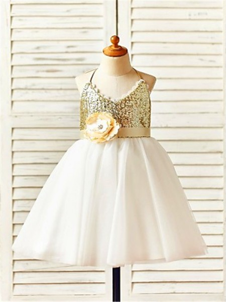 A-Line/Princess Tea-Length Sequin Halter Sleeveless Tulle Flower Girl Dress