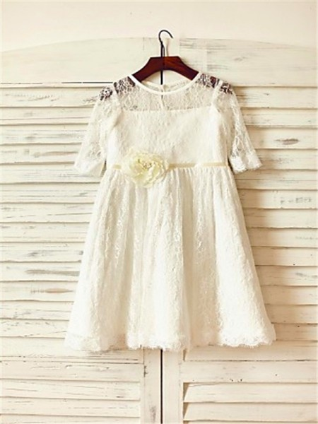 A-Line/Princess Ankle-Length Hand-Made Flower Scoop 3/4 Sleeves Lace Flower Girl Dress
