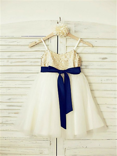 A-Line/Princess Ankle-Length Sequin Spaghetti Straps Sleeveless Tulle Flower Girl Dress