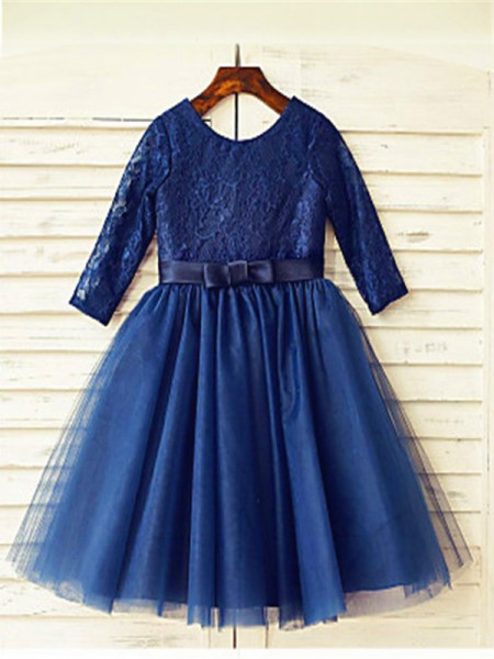 A-Line/Princess Tea-Length Lace Scoop Long Sleeves Tulle Flower Girl Dress