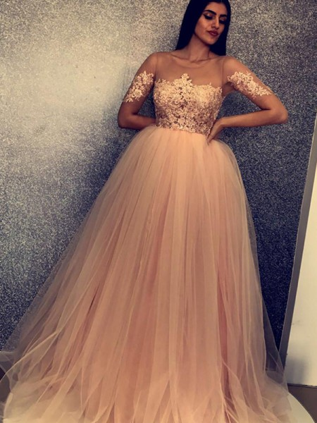 Ball Gown Short Sleeves Tulle Scoop Applique Long Dresses