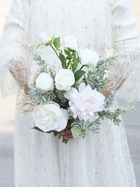 Free-Form Delicate Silk Flower Bridal Bouquets