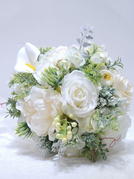 Round Silk Flower Fascinating Bridal Bouquets