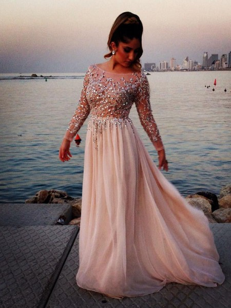 A-Line/Princess Long Sleeves Bateau Chiffon Beading Long Dresses