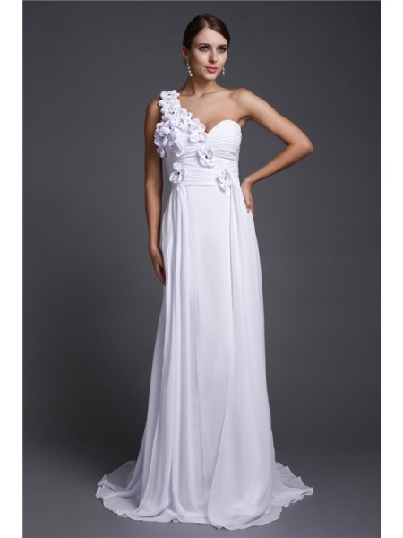 A-Line/Princess One-Shoulder Sleeveless Hand-Made Flower Chiffon Long Dress