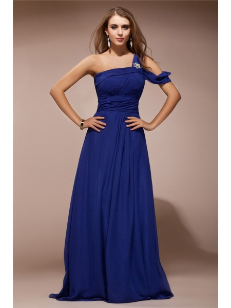 Sheath/Column One-Shoulder Sleeveless Ruffles Rhinestone Chiffon Long Dress