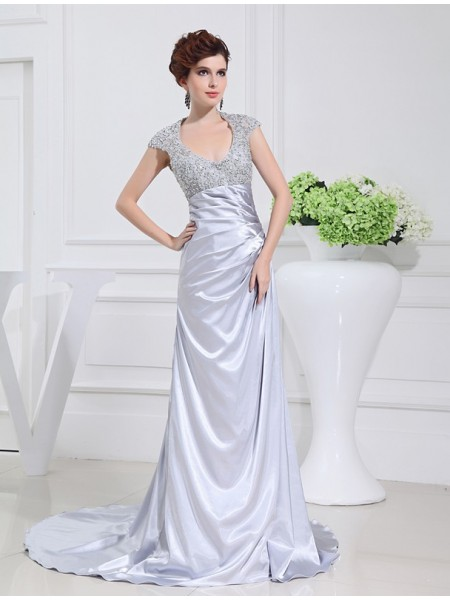 A-Line/Princess Scoop Sleeveless Beading Lace Elastic Woven Satin Long Dress