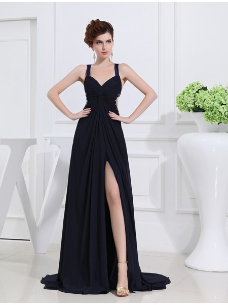 A-Line/Princess V-neck Straps Sleeveless Beading Chiffon Long Dress
