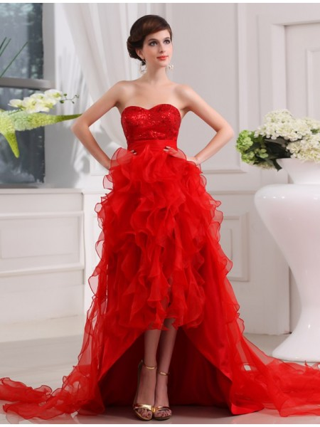 A-Line/Princess Sweetheart Sleeveless Sequin Organza Asymmetrical Dress